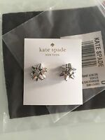 Authentic Kate Spade York Bourgeois Bow Earrings- Silver