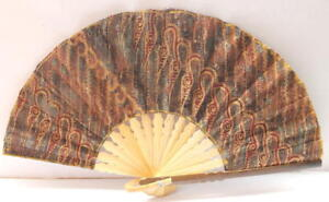 Handmade-Batik-Bamboo-Folding-Hand-Fan-Brown-Green-S-New