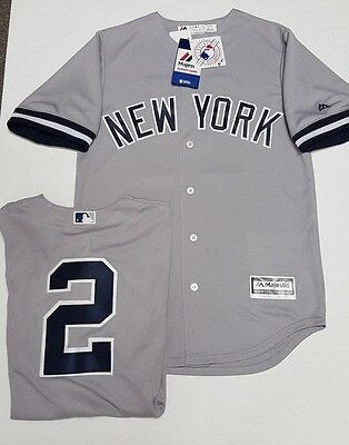 DEREK JETER YANKEES GREY ROAD COOL BASE JERSEY SIZE SMALL  XXL ADULT MAJESTIC
