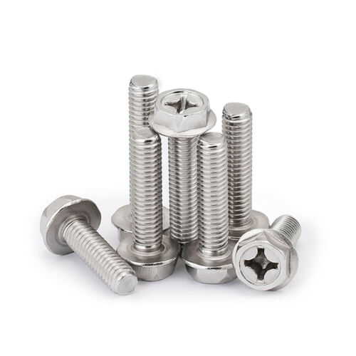 Flanged Hex Head Screws Bolt with Phillips Drive A2 304 Stainless Steel M4 M5 M6