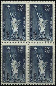 France-1937-Au-profit-des-Refugies-Bloc-de-4-n-352-neuf-Luxe-MNH