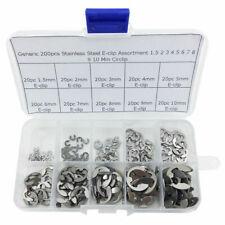 200pcs Stainless Steel E Clip Assortment Kit 15 2 3 4 5 6 7 8 9 10 Mm
