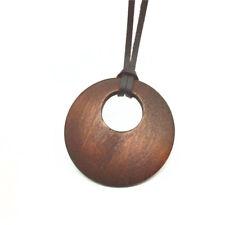 Resin Carved Style Om on Cord Necklace Hippy Boho Yoga Peace Yin Yang