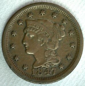 1847-Braided-Hair-US-Large-Cent-Coin-1c-US-Coin-VF-Very-Fine-Circulated-Penny