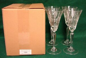 Wedgwood-Crystal-TIARA-Wine-Glasses-SET-OF-FOUR-More-Avail-MINT-IN-BOX