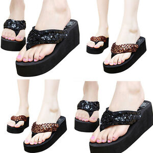 d301390876e5d Hot Summer Soft Women Wedge Sequin Thong Sandals Flip Flops Platform ...