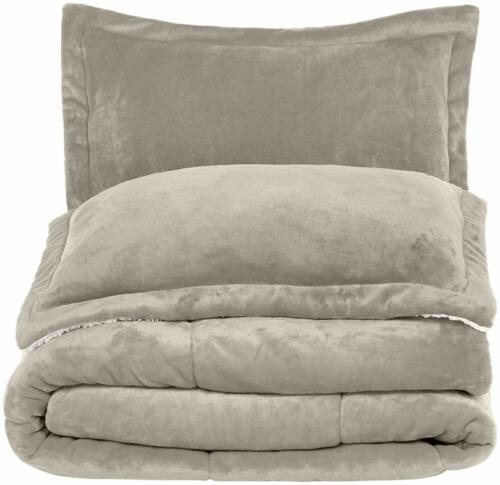 Twin Full Queen Bed Solid Taupe Beige Faux Fur Sherpa Soft 3 pc Comforter Set