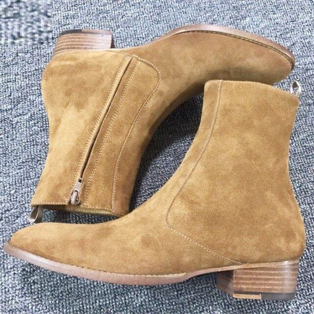 Hecho a mano Gamuza Para Hombre Color Bronceado Hombres botas al tobillo botas con cremallera lateral, botas con cremallera para hombre