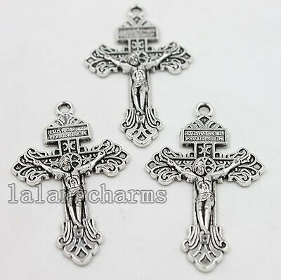 5x New Style Vintage Silver Zinc Alloy Cross Shape Pendant Charms Fit Crafts LC