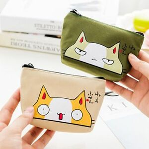 New-Animal-Printed-Mini-Women-Wallet-Cat-Coin-Purse-Canvas-Card-Holder