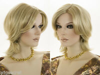 Shag Style Short Blonde Red Straight Monofilament Hand Tied Natural Look Wig