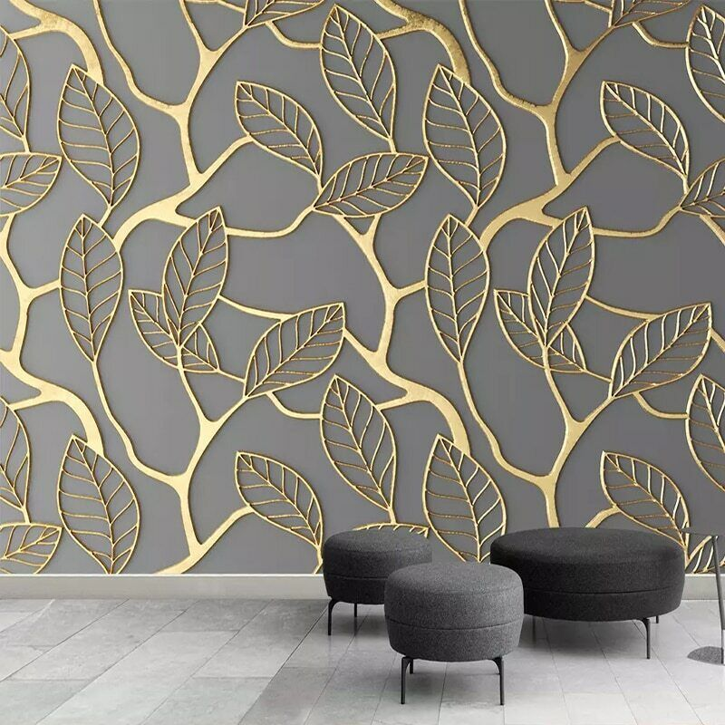 3D Grey golden Leaves Leaf Wall Mural Wallpaper Living Room Bedroom TV Hallway