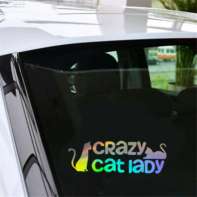 Funny Crazy Cat Lady Vinyl Decal Car Window Door Bumper Laptop  Wall Sticker