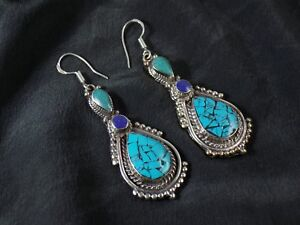8854b7ba2 Image is loading Unique-Tibetan-Turquoise-amp-Lapis-Lazuli-Handmade-Elegant-