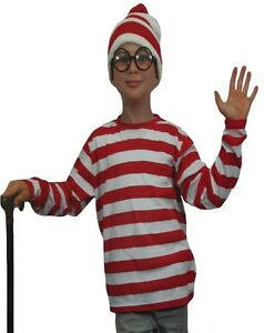 Kids Red And White Striped Shirt Child Size Fancy Dress Costume Wally New