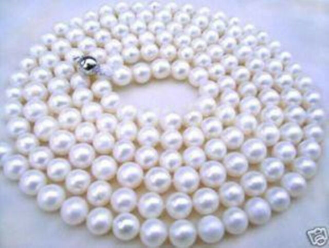 7-8mm White Akoya Cultured Pearl Necklace 34''