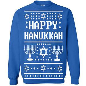 51bf53848 Image is loading 528-Happy-Hanukkah-Ugly-Christmas-Sweater-Crew-Sweatshirt-