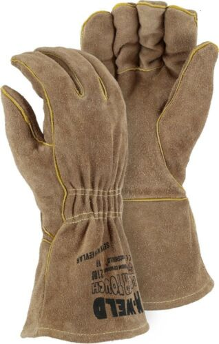 FR LEATHER WELDERS GLOVE WITH ELASTIC WRIST Large Majestic 1 Pair 2100