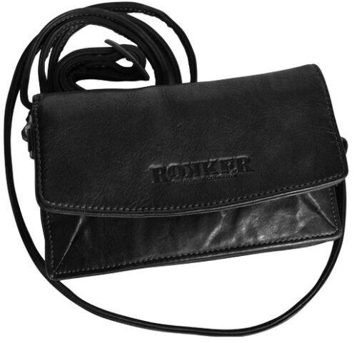 Rokker Lady Wallet schwarz schicke Damen Tasche aus echtem Leder mit Fächern