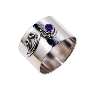 Ladies-Brilliant-Cut-Purple-Amethyst-Solitaire-925-Sterling-Silver-Band-Ring