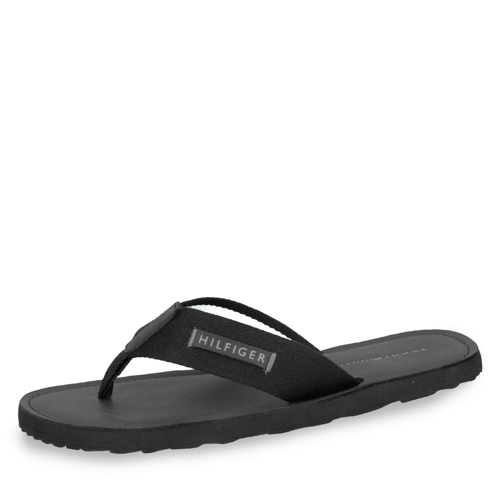 T. Hilfiger Herren Pantolette Zehentrenner Komfortschuhe Uni Sandale Schuhe