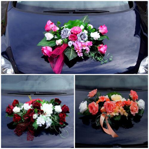 Hochzeit Deko Brautauto Autoschmuck Hochzeitsauto Strauß Kunstblumen Braut LA71