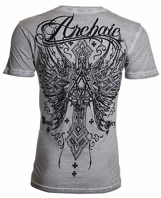 Archaic AFFLICTION Men T-Shirt REDEMPTION Cross Wings Tattoo Biker UFC M-4XL $40