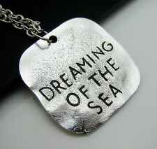 Free Simple Tibetan silver Square Tag Dreaming Of The Sea Charm Pendant Necklace