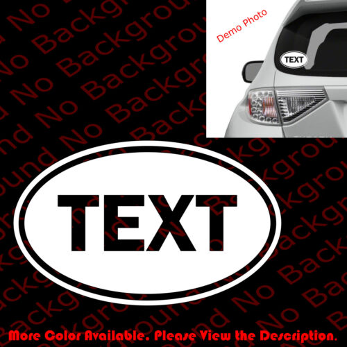 FREE//YOUR TEXT OVAL Vinyl Decal Car Window//Bumper Sticker Mini Cooper GB FT003