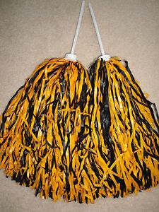 PAIR of BLACK & GOLD MULTI-COLOR ROOTER Pom Poms *NEW ORLEANS SAINTS COLORS*