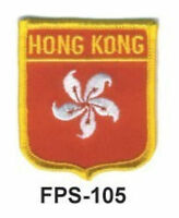 2-1/2'' X 2-3/4 Hongkong Flag Embroidered Shield Patch - Officially Licensed