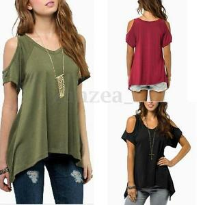 b1184167be721 Women Casual Cold Off Shoulder Loose Short Sleeve Top T-Shirt Tee ...