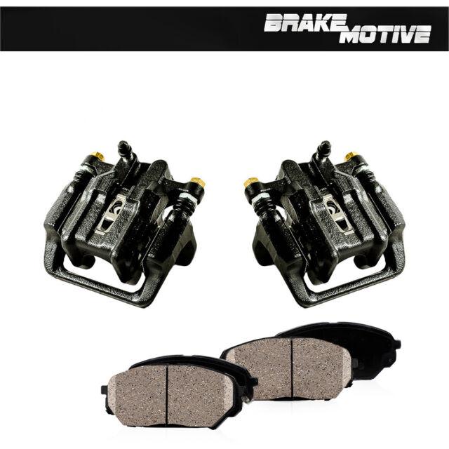Rear Red Brake Calipers And Rotors & Ceramic Pads Pair