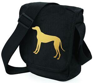 Greyhound-Bag-Shoulder-Bags-Metallic-Gold-Silver-on-Black-Bag-Dog-Xmas-Gift