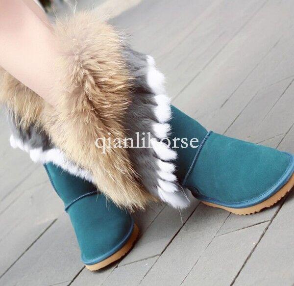Winter warm femmes thicken mid calf snow bottes real fox rabbit fur pull on chaussures