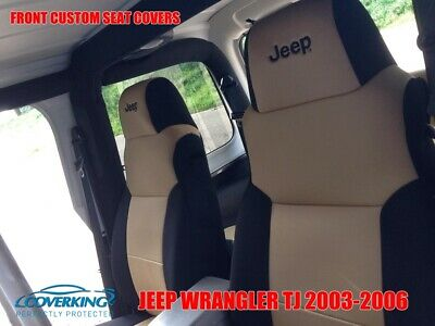 Neoprene, Black//Tan SPC144 Coverking Custom Fit Seat Cover for Jeep Wrangler TJ 2-Door