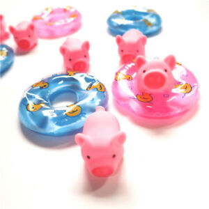 2pcs Swimming Ring 1pc Pig Rubber Floating Swimming Water Squeeze Bathing Toy HC