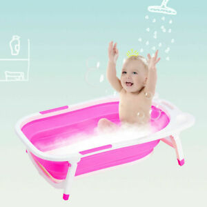 Pink-Baby-Folding-Bathtub-Infant-Collapsible-Portable-Shower-Basin-w-Block