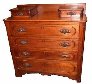 Image Is Loading Antique Walnut American Victorian Eastlake Dresser Hand Carved