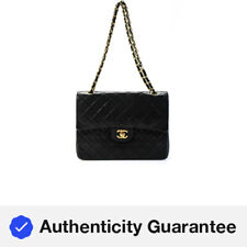 Chanel Classic Leather Maxi Double Flap Quilted Shoulder Bag Black Gold