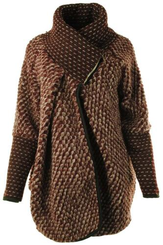 New Ladies Italian Lagenlook Wool Mix Boho Cocoon Bubble Coatigan Jacket Coat