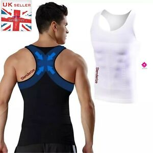 UK Mens Stomach Flattening Girdle Male Corset Firm Tummy Belly Control Vest Tank