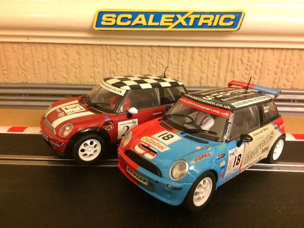 Scalextric Mini Coopers No2 & No18 Great Condition New Braids Fitted