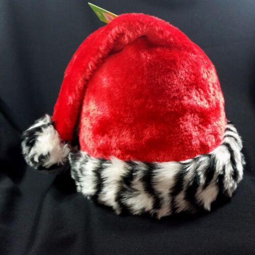 Santa Claus Zebra Hat Christmas Stocking Animal Print Striped Cuff Adult Red