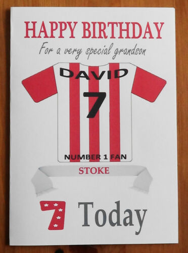 STOKE FAN Unofficial PERSONALISED Football Birthday Card Red /& White Shirt