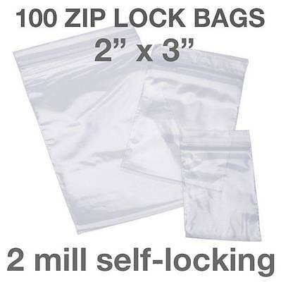 "100 PIECE 2"" X 3"" 2MIL ZIP LOCK LOC POLY RECLOSABLE PLASTIC BAGS CLEAR BAGGIES"