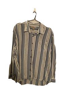 TOMMY BAHAMA Long Sleeve Casual Shirt XXL Blue Green Cream Stripe 100% Tencel