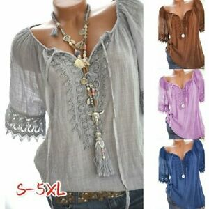 Women-039-s-Short-Sleeve-Lace-Floral-Blouse-Top-T-shirt-Tank-Casual-Summer-Clothes