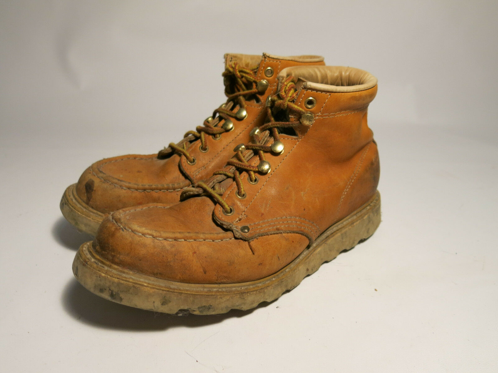 Men's 7 D VTG Carolina Made USA Tan Leather Wedge Sole Moc Toe Work Boots