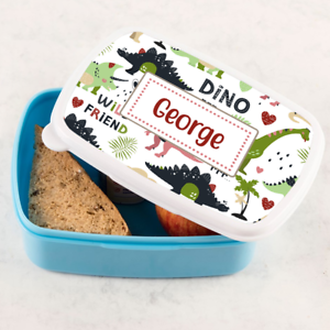 Personalised Boys Dino Dinosaur Scene Blue Lunch Box Tub Sandwich School Tub